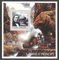 ST THOMAS AND PRINCE 2003 TRAINS RAILWAYS MOUNTAINS M/SHEET MNH - Sao Tome And Principe