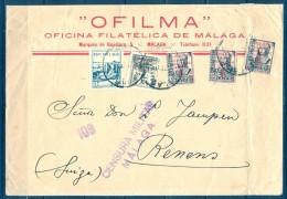 1937 , GUERRA CIVIL , MÁLAGA , SOBRE FRANQUEADO CON PATRIOTICOS , CENSURA MILITAR - 1931-Aujourd'hui: II. République - ....Juan Carlos I