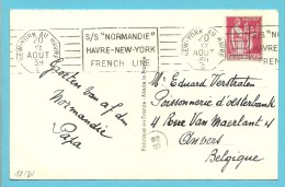 "Kaart Met Stempel NEW-YORK AU HAVRE / S/S. ""NORMANDIE"" HAVRE-NEW-YORK FRENCH LINE 20/8/39 - Postmark Collection (Covers)"