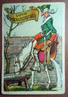 RARE! Vintage Soviet Folk Postcard 1958 By ROTOV. Baron Munchausen Sits On Half-horse. Military Uniform. - Fairy Tales, Popular Stories & Legends