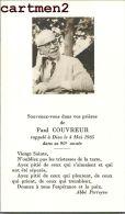 FAIRE-PART DE DECES PAUL COUVREUR ABBEE PERREYVE CARVIN - Décès