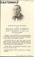 FAIRE-PART DE DECES ALBERT SCHMUTZ STRASBOURG ALSACE GRAVEUR LE ROUX - Décès