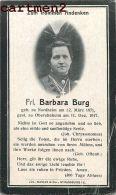 FAIRE-PART DE DECES ALSACE Frl. BARBARA BURG NORDHEIM STRASSBURG STARSBOURG ELSASS MANIAS - Décès