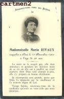 FAIRE-PART DE DECES MADEMOISELLE MARIA RIVAUX ROANNE STUDIO DUBUIS - Todesanzeige
