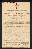 FAIRE-PART DE DECES MONSIEUR AMABLE DESIRE BREANT ROUASSE-LEBEL A PARIS 1896 - Décès