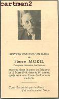 FAIRE-PART DE DECES PIERRE MOREL PERCEPTEUR HONORAIRE DES FINANCES - Décès