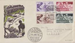 Enveloppe  1er  Jour  GUINEE  ESPAGNOLE  En  Faveur  Des  Indigénes  1954 - Guinea Espagnole