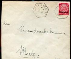 81586 - OCCUPATION ALLEMANDE - 1 TP, Surchargé LORRAINE, Tarif  12 Pf, Cad Français Type Recette Auxiliaire AUDVILLER - Marcophilie (Lettres)