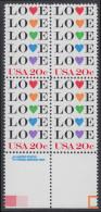 !a! USA Sc# 2072 MNH BLOCK W/ Bottom Margins & Copyright Symbol (a2) - Love - Stati Uniti