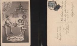 2876) AUGURALE BUON NATALE BAMBINI CON DONI VIAGGIATA 1910 CIRCA - Natale