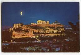 Athènes - L'Acropole Vue La Nuit  - écrite Et Timbrée - 2 Scans - Grèce