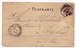 1888 - CARTE COMMERCIALE (EAU MINERALE De SOULTZMATT) Avec TàD SULZMATT (HAUT RHIN) INDICE 15 - Marcofilia (sobres)