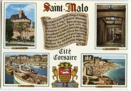 Bretagne - Côte D´Emeraude - Saint-Malo, Cité Corsaire - Multivues - écrite Non Timbrée - 2 Scans - Saint Malo