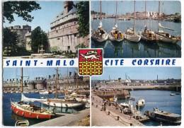 Saint-Malo Cité Corsaire - Le Château, Yachts Au Mouillage, Bassin Des Yachts, Embarcadère - écrite Et Timbrée - 2 Scans - Saint Malo