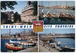 Saint-Malo Cité Corsaire - Le Château, Yachts Au Mouillage, Bassin Des Yachts, Embarcadère - écrite Non Timbrée  2 Scans - Saint Malo