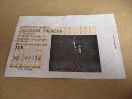 rare ticket de concert de Jacques Higelin le 19 aout 1983 a orange