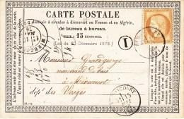 CP Précurseur [OFF 18] Avec Y&T 55 Obl TàD REMONCOURT Du 15.5.1876 + Boite Rurale I = Domève Adressée à Mirecourt - Storia Postale