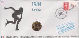 ENVELOPPE OFFICIELLE DES MONNAIES ET MEDAILLES / 1er JOUR SARAJEVO 1984 - JEUX OLYMPIQUES D´HIVER - France