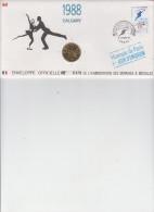 ENVELOPPE OFFICIELLE DES MONNAIES ET MEDAILLES / 1er JOUR CALGARY 1988 - JEUX OLYMPIQUES D´HIVER - France
