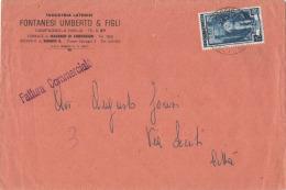 AD85       ITALIA AL LAVORO £.15 ISOLATO SU BUSTA IN TARIFFA  FATTURA COMMERCIALE ,1951 - 6. 1946-.. Repubblica