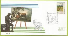 Pays-Bas Nederland 1990 1348 FDC Vincent Van Gogh Paysage La Vigne Verte Oblitéré Paulus Potter Taureau Vaches Moutons - Vaches