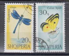 Albanie YV 873/4 O 1966 Papillon Libellule - Schmetterlinge