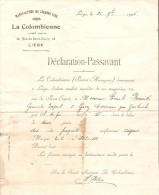 3 Doucuments de la Colombienne Manufacture de Cigares fins de Li�ge dont lettre de voiture AM224