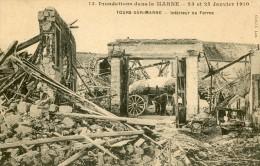 INONDATIONS DANS LA MARNE - 23 ET 25 JANVIER 1910 - TOURS SUR MARNE -51- INTERIEUR DE LA FERME - Autres Communes