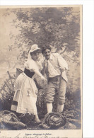 25427 Enfant Epoux Amoureux Couple Choux Jardin Rose Fillette -AS Paris -I Epoux Observez Dicton - Enfants