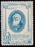 PERU - Scott #407 Samuel Morse / Mint H Stamp - Peru