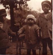 Photo Originale Enfants - 3 Gamins Avec Charrette D'attelage Pour Petits Animaux Chiens ? Jouet Ancien - Remorque - Alte (vor 1900)