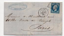 1860 - LETTRE De ROUEN (SEINE MARITIME) Avec N°14 Avec BELLES MARGES - 1849-1876: Période Classique