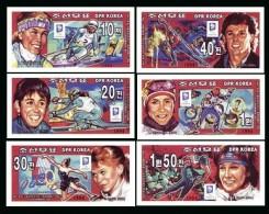 North Korea 1995 Winter Olympics Lillehammer Gold Medalists 6v Imperf Mnh Ski Figure Skating Speed Skaters - Korea, North