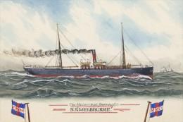 MELBOURNE Of The Melbourne Shipping Co Watercolour Art Postcard Modern Digital - Piroscafi