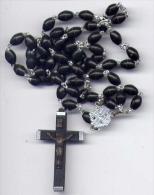 Rosario Con Crocifisso - Palline Nero 58 - Religion & Esotericism