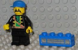 279/46  LEGO MATTONCINI BRIQUE ORIGINALE 1X4 BLU BLUEU SERIGRAFATO SERIGRAPHIE - Lego System