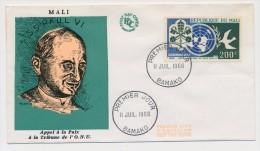 MALI - Enveloppe FDC => Appel à La Paix Onu - Pape Paul VI - Bamako - 11 Juillet 1966 - Mali (1959-...)