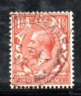 SS5579 - GRAN BRETAGNA 1912 , Giorgio V  1 1/2 Pence  N. 141 Usato. Royal Cypher CAPOVOLTA . RARO ! - 1902-1951 (Kings)