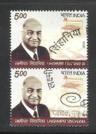 INDIA, 2010, FIRST DAY CANCELLED, PAIR,  Lakhsmipat Singhania, - India