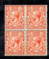 SS5833 - GRAN BRETAGNA 1924 , Giorgio V Block 1 1/2 Pence  N. 141 Quartina *  Mint. Punti D'ossidazione - Nuovi