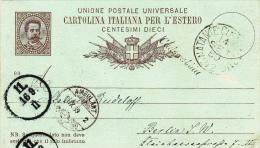 "Schiffspost-Postkarte Von ""NATANTE COLICO COMI N 2""/ ""CADENABBIA"" Auf GS C 7/88 Nach Berlin (r041) - 1878-00 Umberto I"
