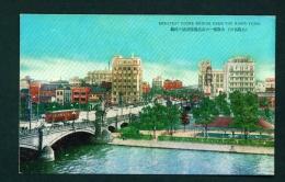 JAPAN  -  Osaka  Stone Bridge Over The River Yodo  Unused Vintage Postcard As Scan - Osaka