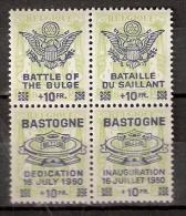100305 Sc CB1&2, 265&361[BLOCKS OF 4]PRIVATE O.P. BASTOGNE DEDICATION DU MEMORIAL DE LA BATAILLE DU SAILLANT - WW II
