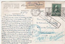 carte vers le congo   1930 retour a l'envoyeur
