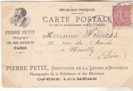 Carte Publicitaire Photographe- Pierre PETIT 122 Rue Lafayette Paris 19O4. Tb état Rare. - Publicité