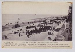De Panne Belgische Soldaten Kijken Op Strand Naar Engelse Monitor Die Duitse Stellingen Beschiet - Guerre 1914-18