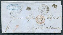 1855 Hamburg Altona Entire - Bordeaux, France, Paris A Bordeaux - Hambourg