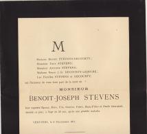 Faire Part Décès Benoit Stevens Famille Decourty Verviers 1911 - Obituary Notices