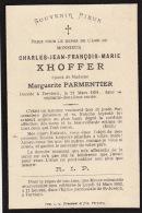 Faire Part Décès Charles Xhoffer Verviers 1891 - Todesanzeige