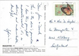 Maldives 1998 Male Red Lacewing Cethosia Biblis Butterfly Insect Viewcard - Maldiven (1965-...)